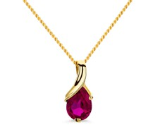 Halskette 9KT Created Ruby Pendant 45cm Necklace Yellow Gold