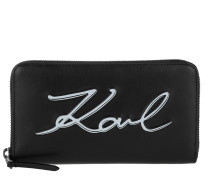 K/Metal Signature Zip Wallet Black/White Portemonnaie