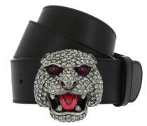 Belt with Crystal Feline Head Black/Silver Gürtel silber