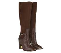 Boots & Booties - Brin Suede/Croc Leather Boots Café