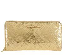 Zip Arount Wallet Logo Oro Portemonnaie