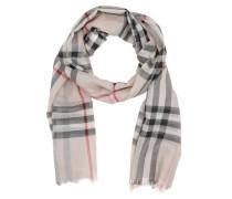 Lightweight Check Wool and Silk Scarf Stone Schal