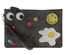 Zip Top Pouch Glitter Stickers Charcoal Suede Lux Clutch