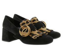 Pumps With Animal Print Suede Black