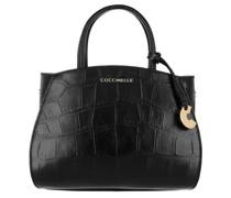 Umhängetasche Concrete Croco Maxi Satchel Bag Leather Noir