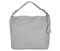 Tasche - Piuma Braided Leather Hobo Bag Light Grey