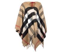 Collette Merino Wool Cashmere Check Cape Camel Schal