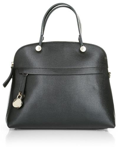 Furla damen furla tasche piper m dome satchel onyx in schwarz aus saffianoleder - Furla tasche schwarz ...