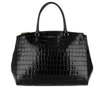 Tote Sortie Croco Shiny Soft Satchel Bag Leather Noir