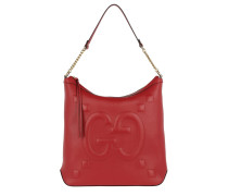 Embossed GG Leather Hobo Bag Hibiscus Red