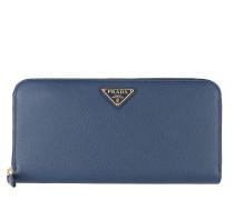 Classic Zip Wallet Saffiano Logo Triangolo Bluette