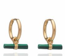 Ohrringe Mini Malachite T Bar Huggie Hoop Earrings