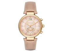 Ladies Sawyer Chronograph Gold Beige Armbanduhr gold