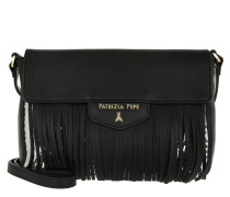 Fringed Shopping Bag Black/Silver Paillettes Umhängetasche