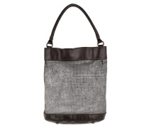 Monospalla Media Bucket Bag Metal Grigio Beuteltasche braun