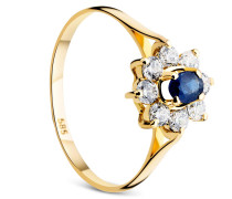 Ring 14KT Sapphire With Cubic Zirconia Yellow Gold