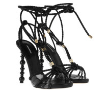 Sandalen Feng Sculpted Heel Braided Strappy Sandals Black