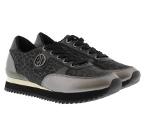 Sneakers - Laminated Effect Sneaker Leather Argento