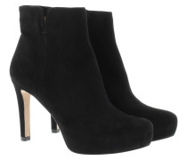 Boots & Booties - Platform Ankle Booties Suede Black
