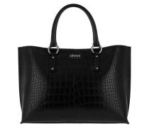 Shopping Bag Croco Strap Nero Umhängetasche