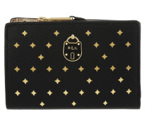 New Pebbled Compact Wallet Small Black/Gold