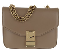 Umhängetasche C Bag Small Shiny Calfskin Light Camel