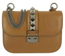 Rockstud Lock Shoulder Bag Small Bright Cuir Umhängetasche braun