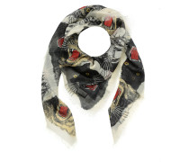 Tiger Face Print Wool Silk Scarf Ivory Schal