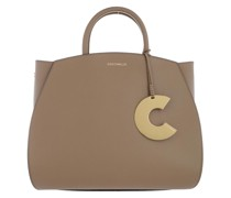 Tote Concrete Handle Bag Leather Taupe