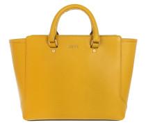 Geras Shopper Saffiano Small Yellow Tote