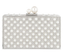Embellished Minaudiere Crystal Ball Clasp Silver/Pearl Clutch