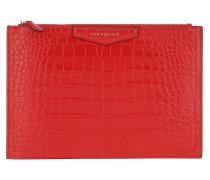 Clutch Antigona Pouch Medium Croco Effect Leather Red