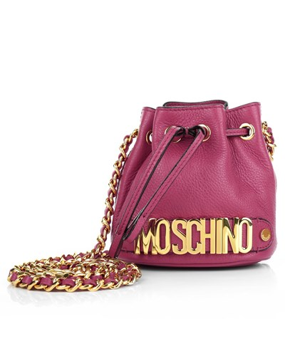 moschino damen moschino tasche mini chain logo bucket bag pink in rosa aus glattleder. Black Bedroom Furniture Sets. Home Design Ideas