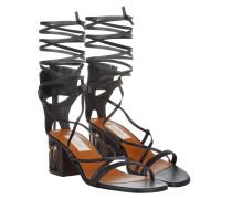 Sandalen - Gladiator Sandale With Sculptured Heel Nero/ Deep Ebano - in schwarz - Sandalen für Damen