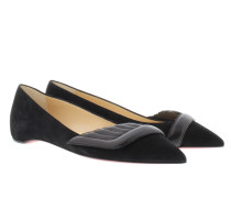 Miss Mars Veau Velours/Nappa Shiny Flat Black Ballerinas