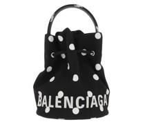 Beuteltasche Wheel XS Drawstring Bucket Bag Leather Black/White