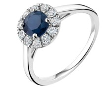 Ring 0.36ct Diamond wtih 0.9ct Sapphire 18KT White Gold