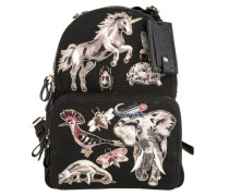 Tasche - Embroidered Animal Canvas Backpack Black