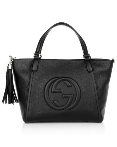 gucci damen gucci tasche soho cellarius tote black in schwarz aus glattleder henkeltasche. Black Bedroom Furniture Sets. Home Design Ideas