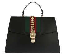 Sylvie Maxi Top Handle Bag Leaher Black Satchel