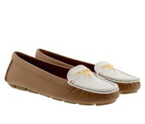 Calzature Donna Saffiano Bicolo Slipper Caramel/Bianco Schuhe braun
