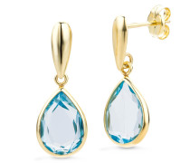 "Ohrringe Earrings Blue Topaz ""The Magic One"" 14KT Yellow Gold"