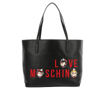 Embroidered Jewel Shopper Nappa PU Nero Umhängetasche
