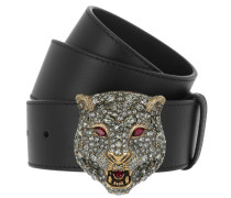 Belt with Crystal Feline Head Black/Gold Gürtel