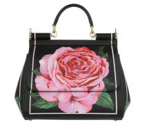 Sicily Roses Tote Bag Medium Dauphine Black rosa