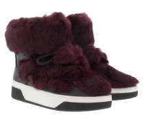 Boots & Booties - Nala Ankle Boot Genuine Rabbit Fur Plum/Black