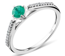 Ring 18KT Diamond and Emerald White Gold