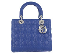 Lady Dior Medium With Strap Blue Tote