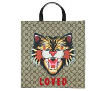 Angry Cat Print Medium Tote Bag Brown