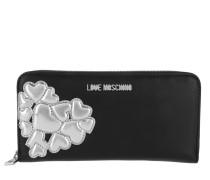 Zip Around Wallet Metallic Heart Argento Portemonnaie